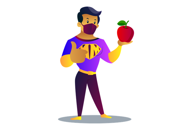 Mask man is showing apple to boost Immunity Illustration