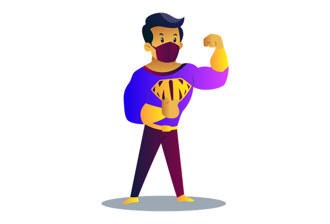 Mask man is showing his biceps Illustration