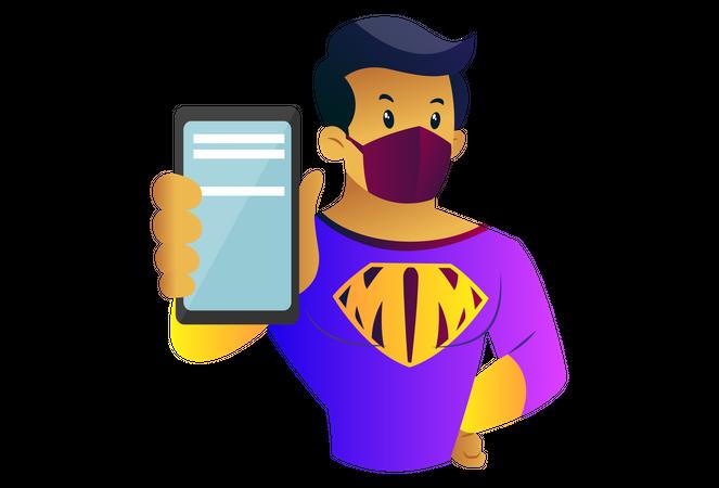 Mask man is showing mobile Illustration