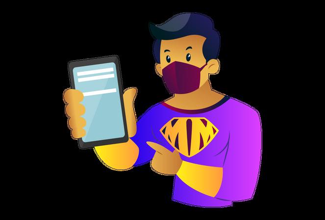 Mask man is showing status of corona virus on mobile Illustration