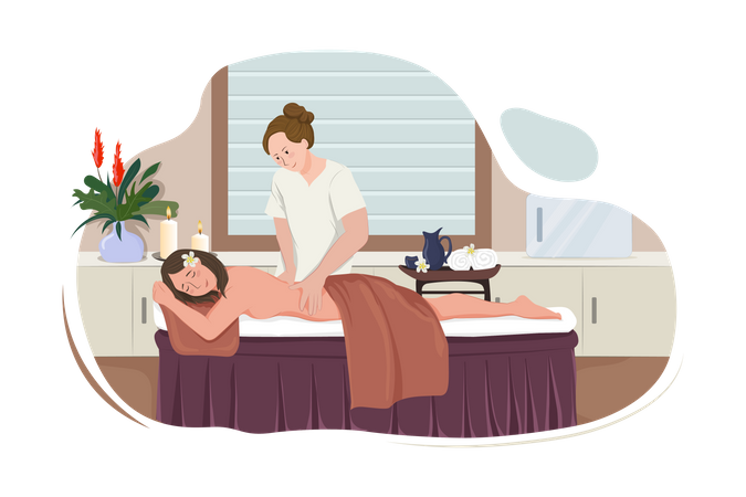 Massage therapist giving exotic massage to happy smiling woman Illustration