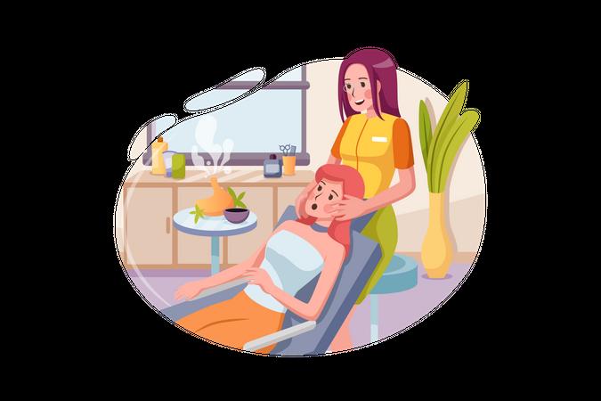 Masseur doing massage on woman body in the spa salon Illustration
