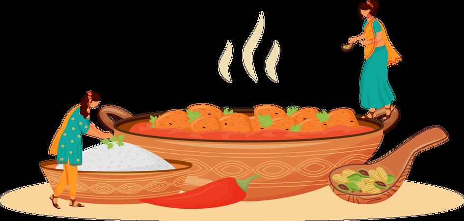 Matar paneer serving Illustration