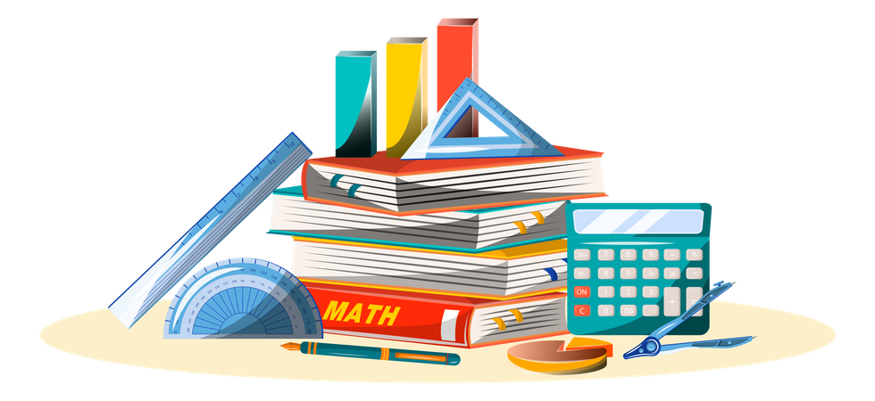 Maths book and equipment Illustration