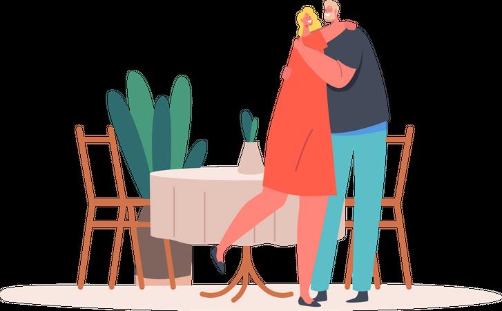 Mature Couple Hugging in Restaurant Illustration