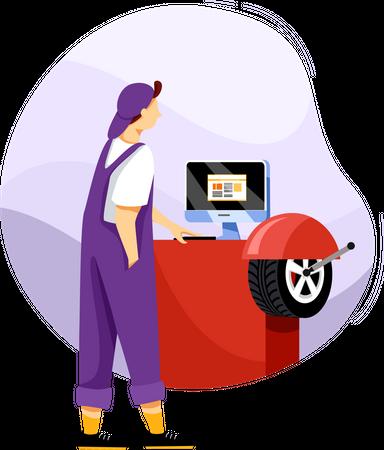Measuring tire pressure on machine Illustration