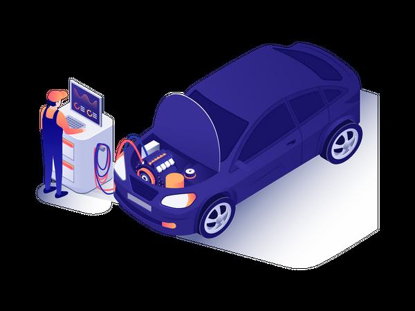 Mechanic checking car engine Illustration