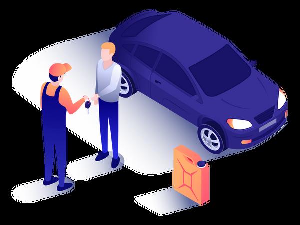 Mechanic giving car key to customer Illustration