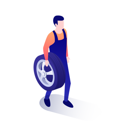 Mechanic holding car tire in his hand Illustration