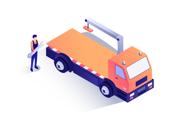 Mechanic standing near towing truck Illustration
