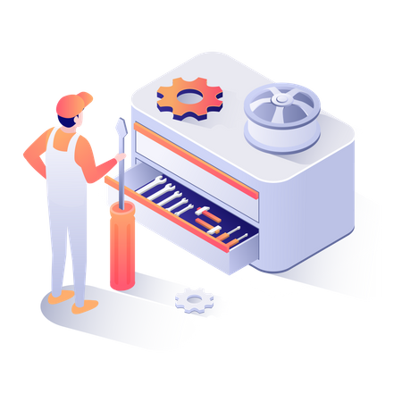 Mechanic with service tools Illustration