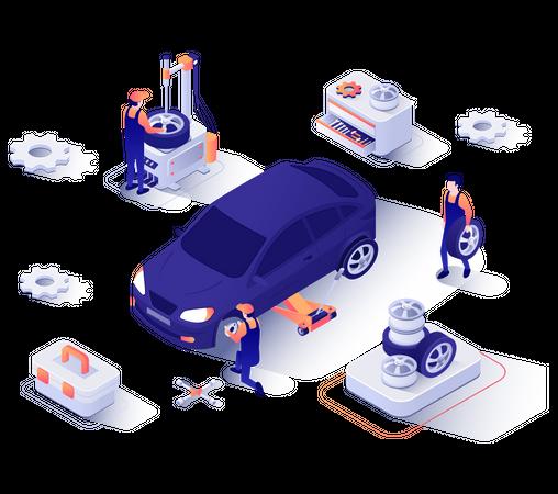 Mechanics changing wheels of car Illustration
