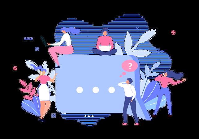 Media Community Group and Speech Bubble Illustration