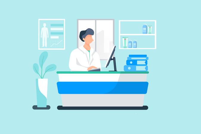 Medical assistant checking medical data on computer Illustration