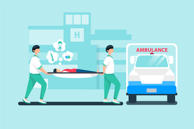 Medical assistant transferring patient into ambulance Illustration