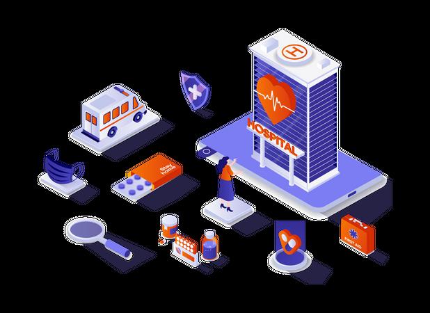 Medical center and medical services Illustration