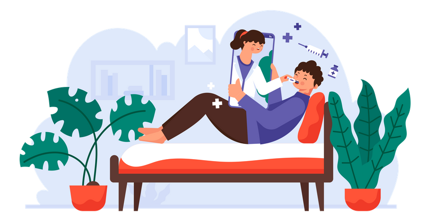 Medical Check And Health Consultation via videocall During Coronavirus Pandemic Illustration