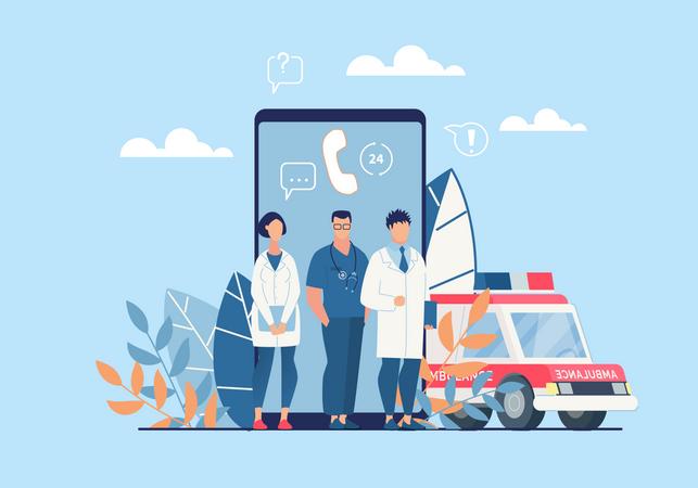 Medical Emergency Team And Ambulance Illustration