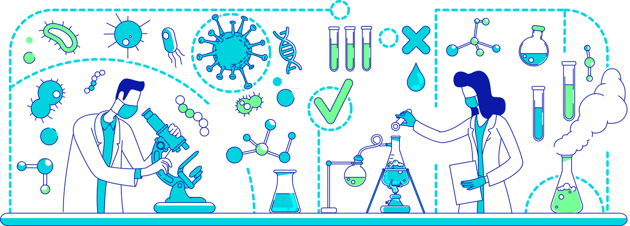 Medical experiments doing research Illustration