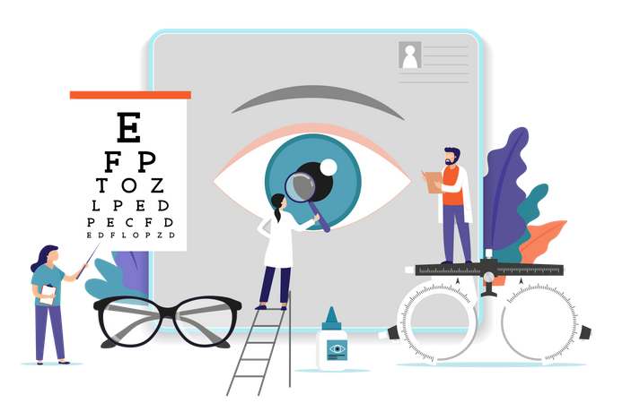 Medical research team doing research on eyes Illustration