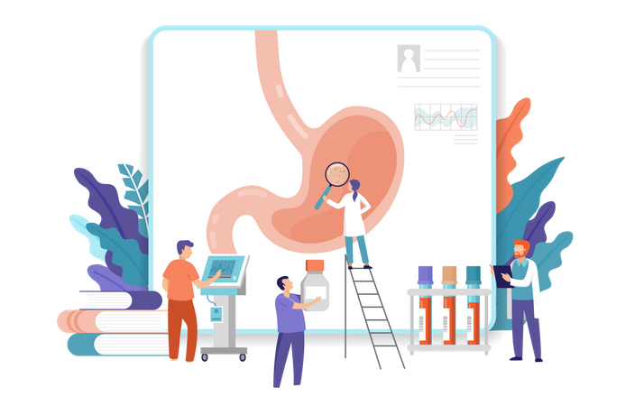 Medical research team doing research on gastroscopy Illustration