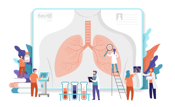 Medical research team doing research on lungs Illustration