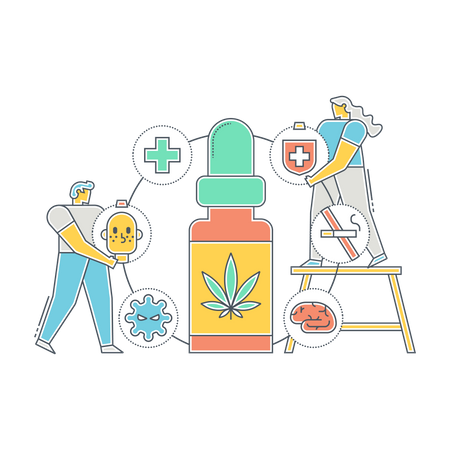 Medical research team working on cbd oil Illustration