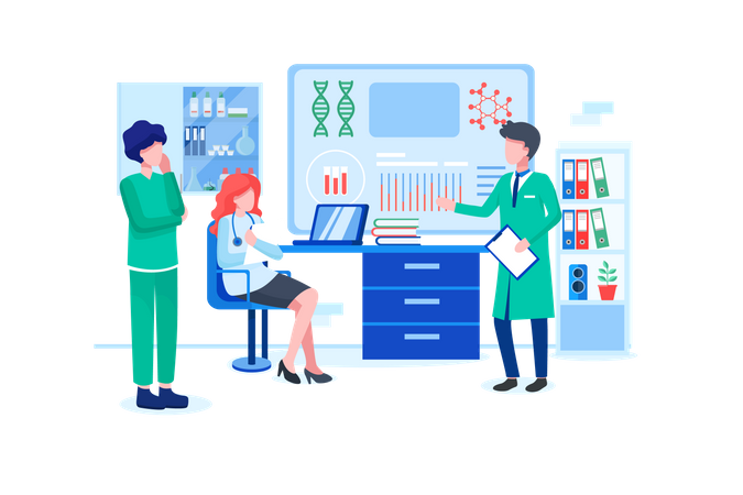 Medical staff doing research in laboratory Illustration