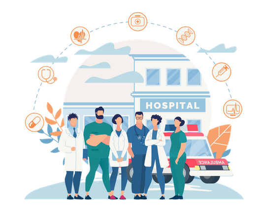 Medical team of Hospital Illustration