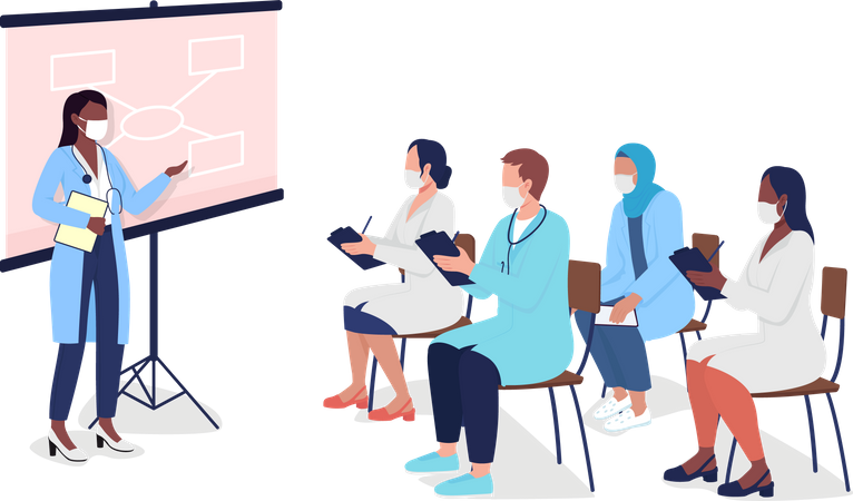 Medical tutor with students Illustration