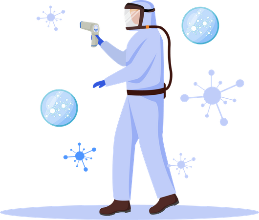 Medical worker with Temperature tool Illustration