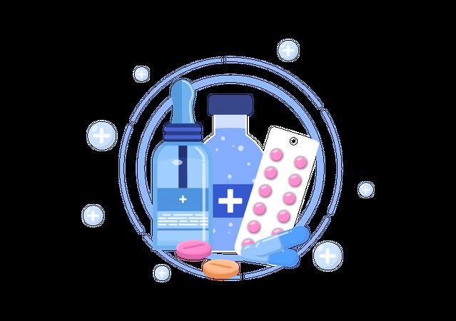 Medicine for curing polio Illustration