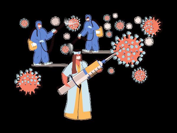 Medics are fighting with corona Illustration