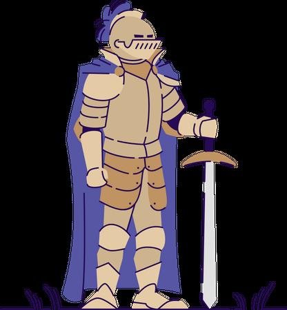 Medieval armed knight Illustration