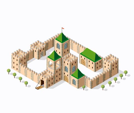 Medieval fortress fort Illustration