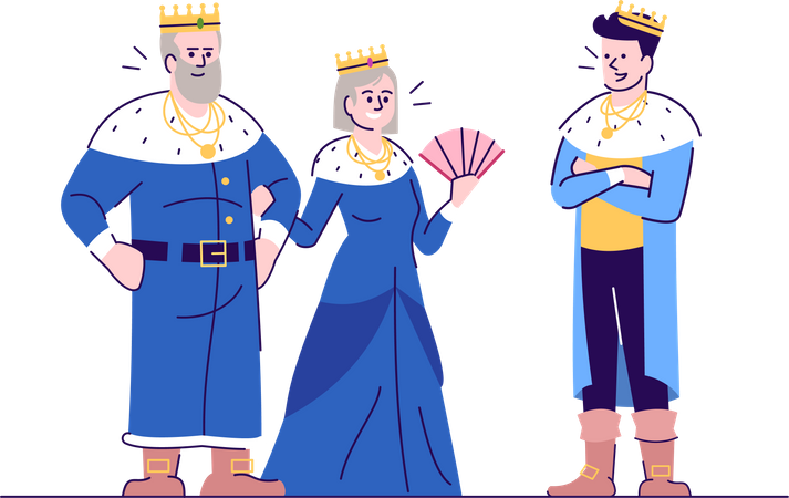 Medieval king, queen and prince Illustration
