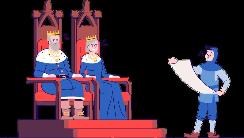 Medieval kingdom rulers on thrones with royal messenger Illustration