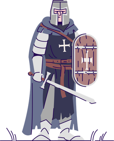 Medieval knight with sword and shield Illustration