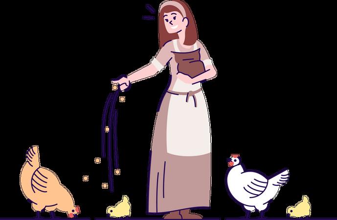 Medieval peasant girl feeding fowl Illustration