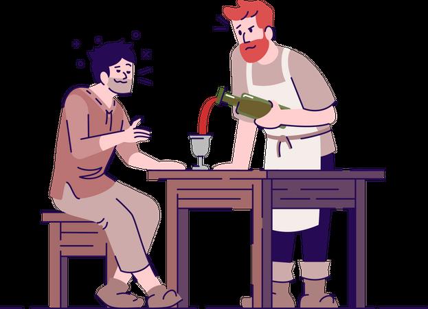 Medieval tavern with peasants Illustration