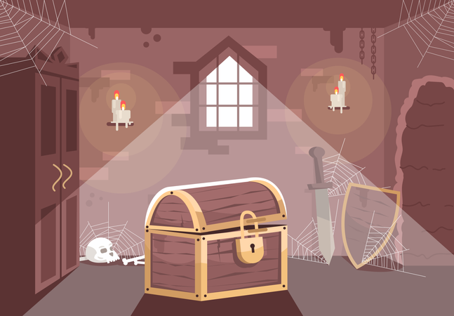 Medieval themed escape room Illustration