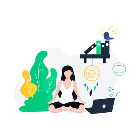 Meditation impact on working Illustration