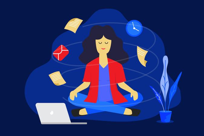 Meditation woman at work. Illustration