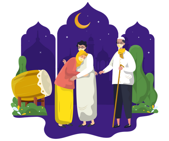 Meet mother and father at ramadan night Illustration