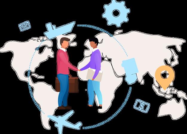 Meeting regarding International business Illustration