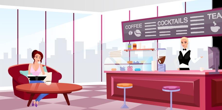 Megapolis coffeehouse interior Illustration