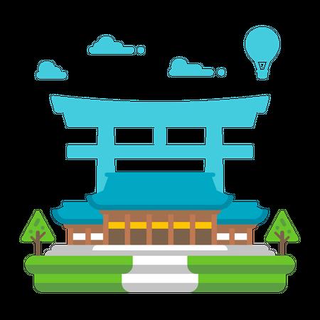 Meiji Shrine Illustration