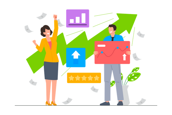 Member team feels happy because business startup growing Illustration