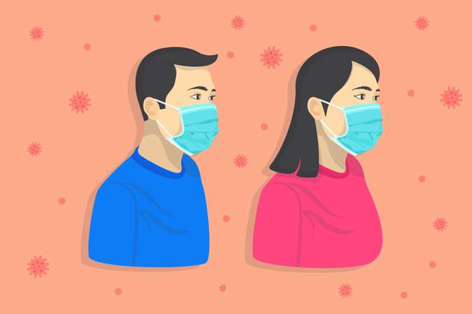 Men and Woman with face masks Illustration