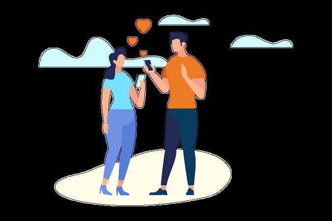Men and Women Communicating Through Smartphone Illustration